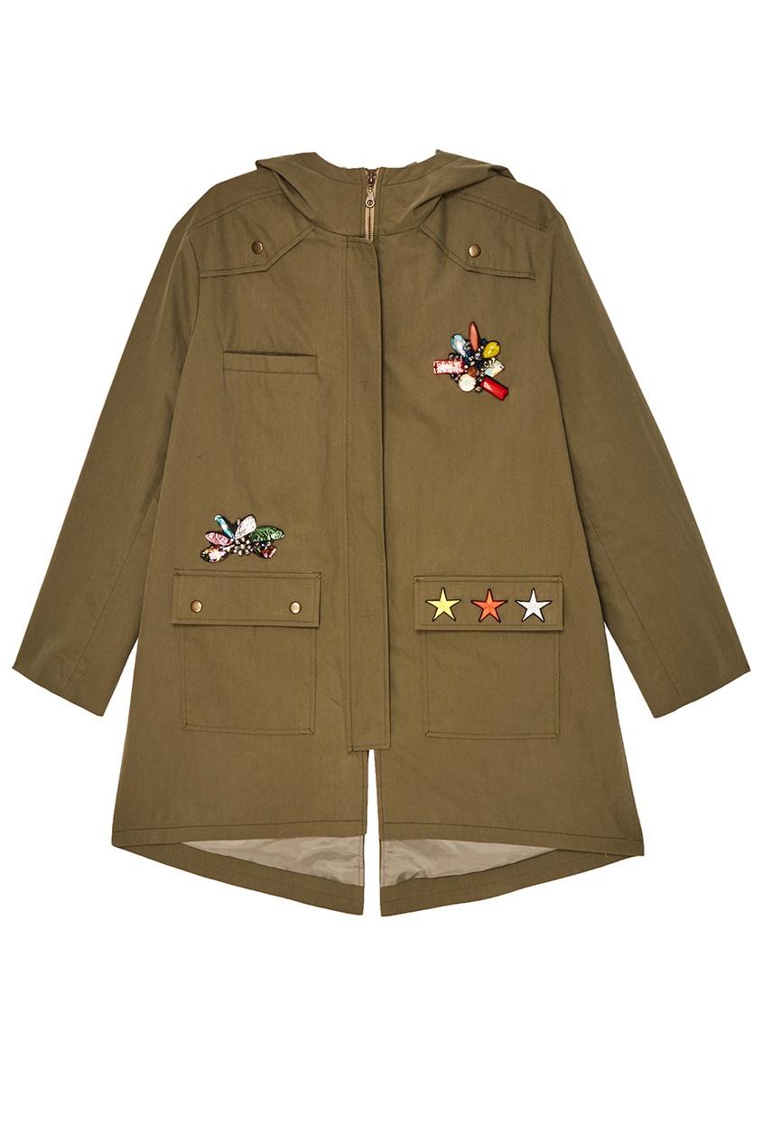 ЛИ-ЛУ Зеленая парка с отделкой кристаллами truespin зеленая парка куртка для сноуборда парка true spin alaska jacket hunter green