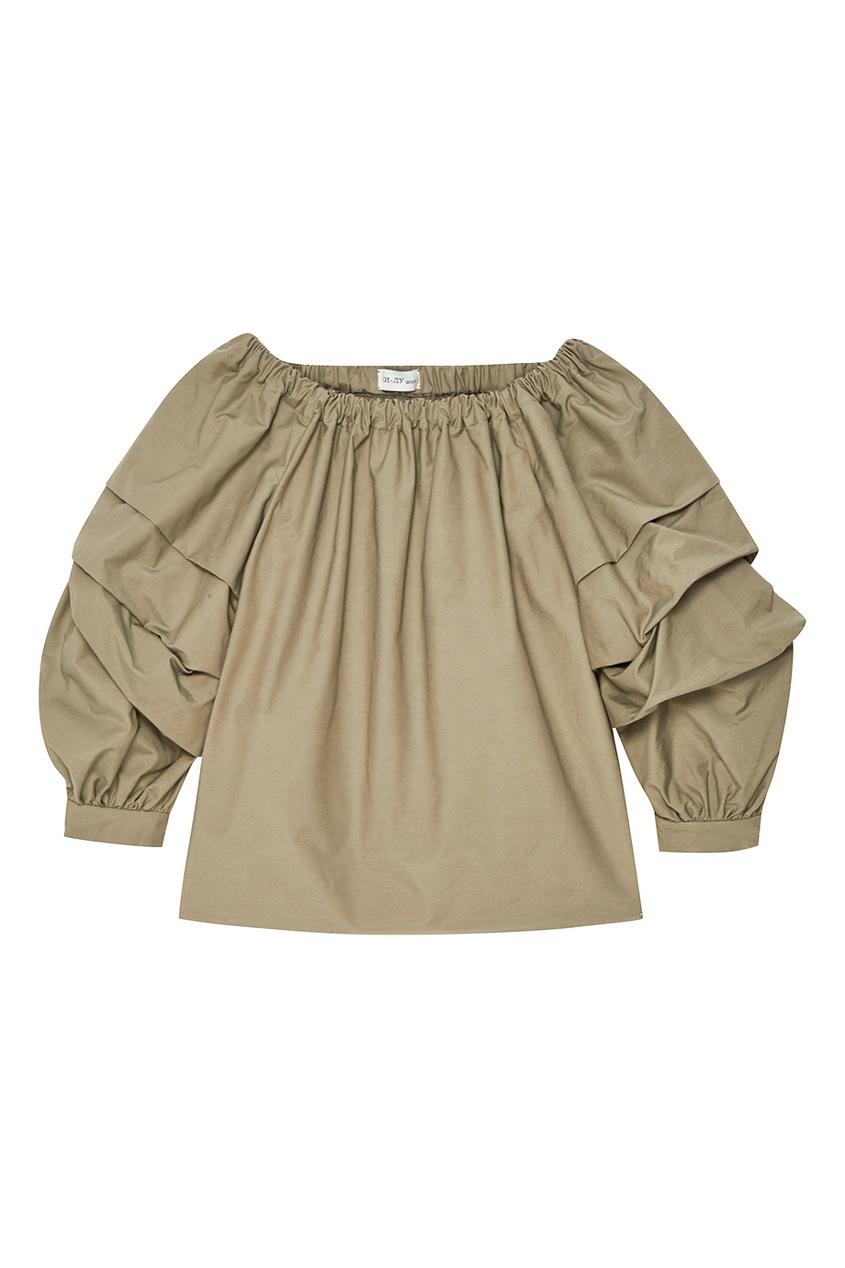 Хлопковая блузка с драпированными рукавами