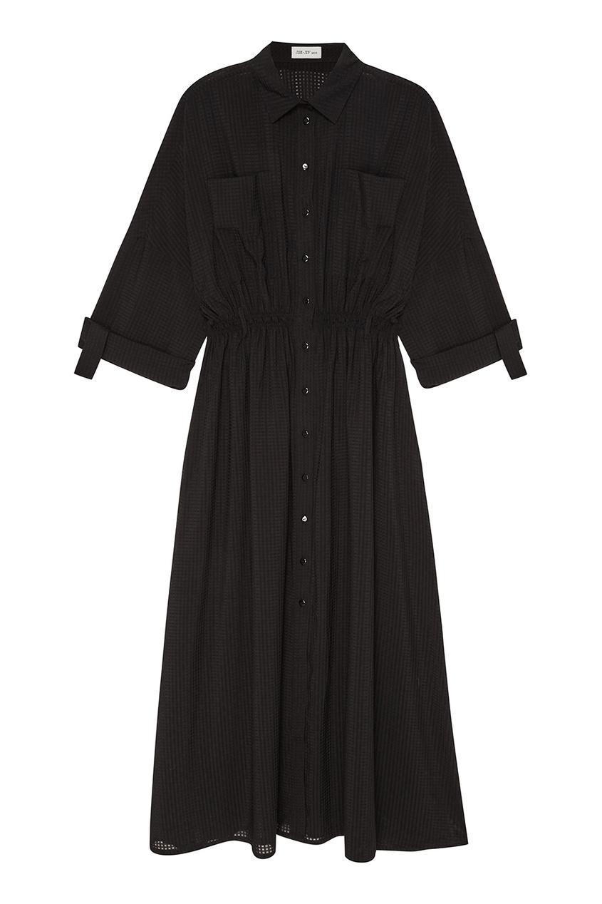 ЛИ-ЛУ Черное платье-рубашка платье черное с паетками 44