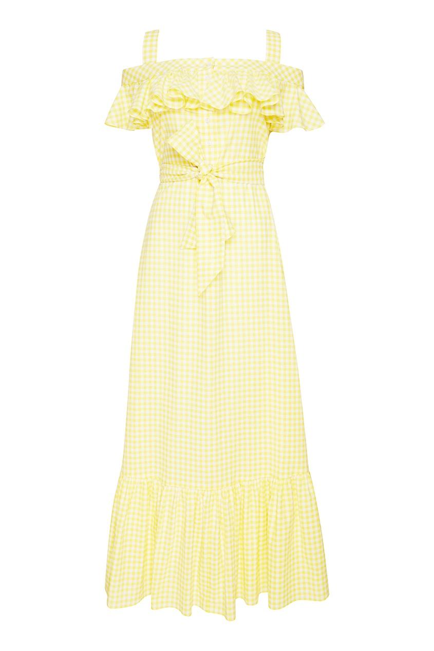 Желтое хлопковое платье с поясом