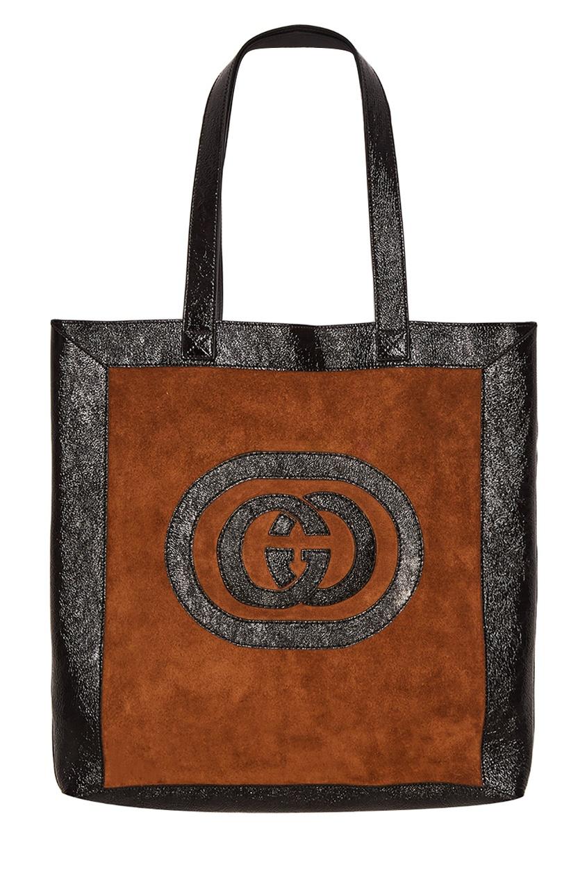 Gucci Замшевая коричневая сумка Ophidia сумка gucci