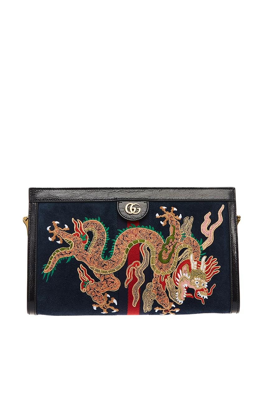 Синяя замшевая сумка с драконом Ophidia