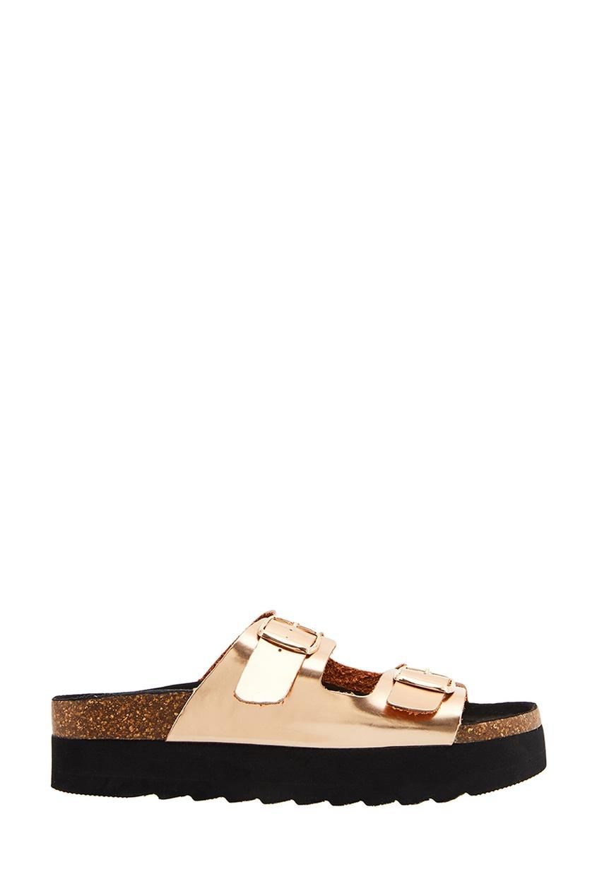 Золотистые ламинированные сандалии