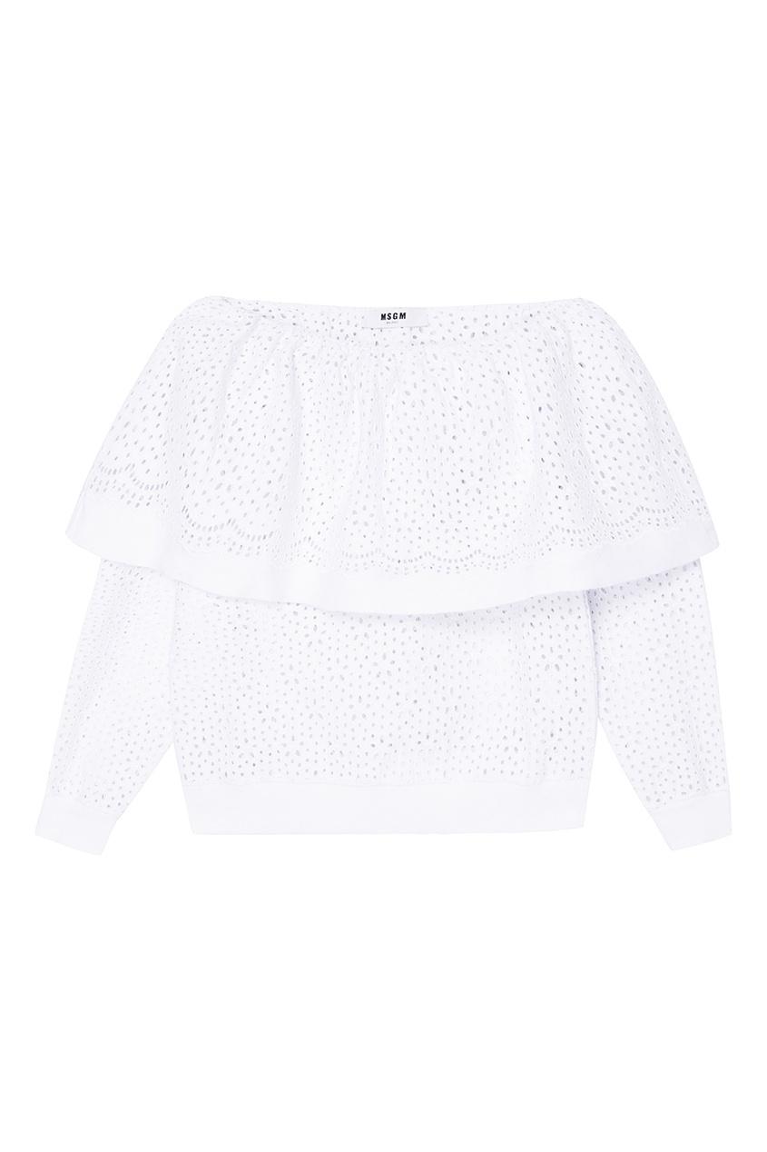 MSGM Белая блузка из вышитого хлопка msgm одежда