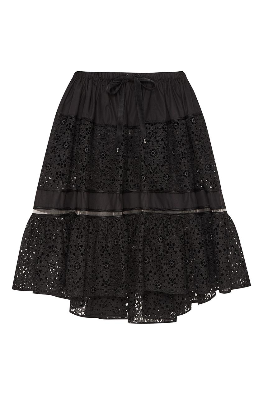 Fendi Черная юбка из хлопкового шитья