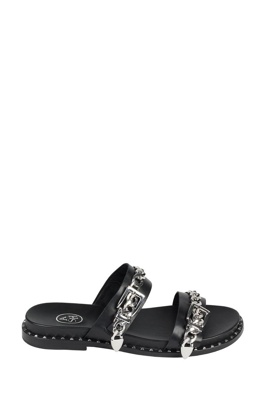 Черные сандалии с цепочками Meika
