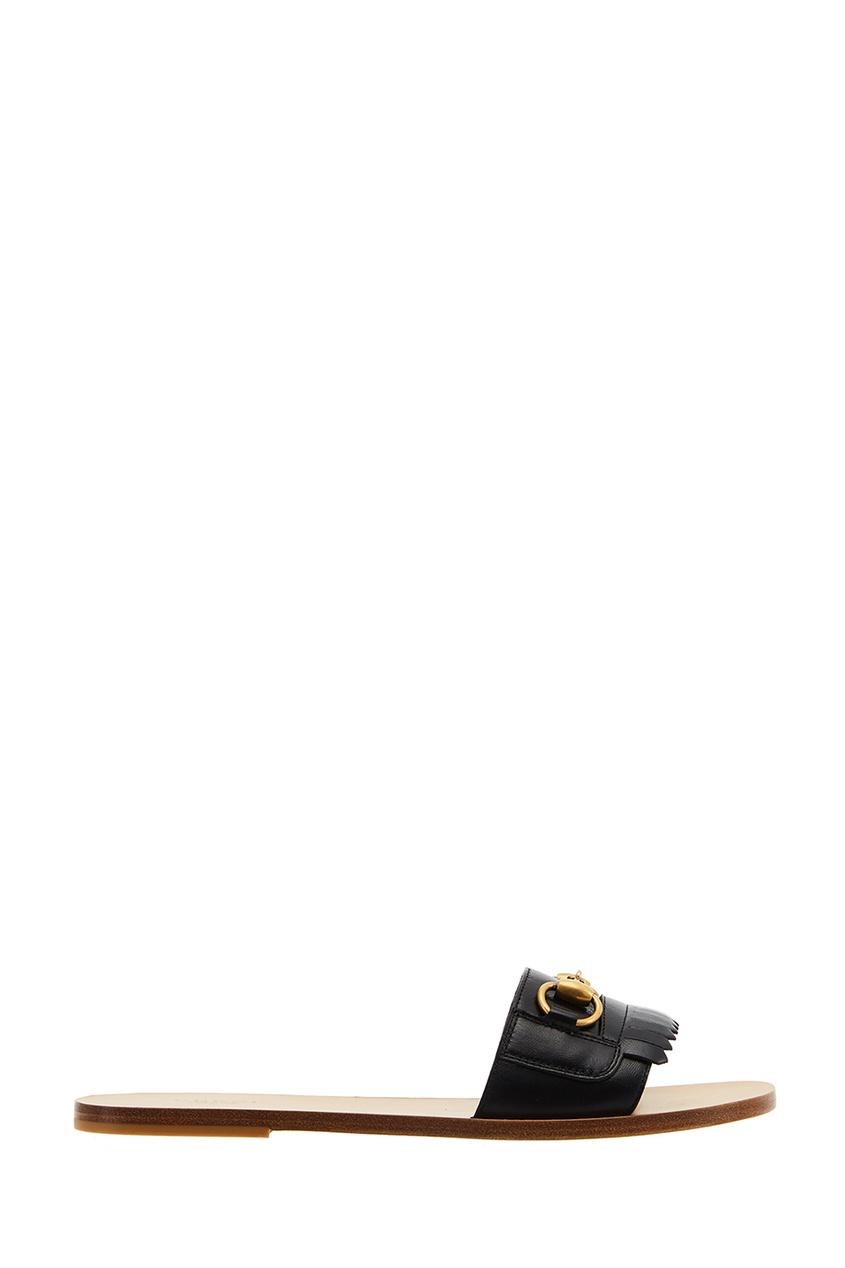 Gucci Черные кожаные сандалии Horsebit gucci черные кожаные сандалии horsebit