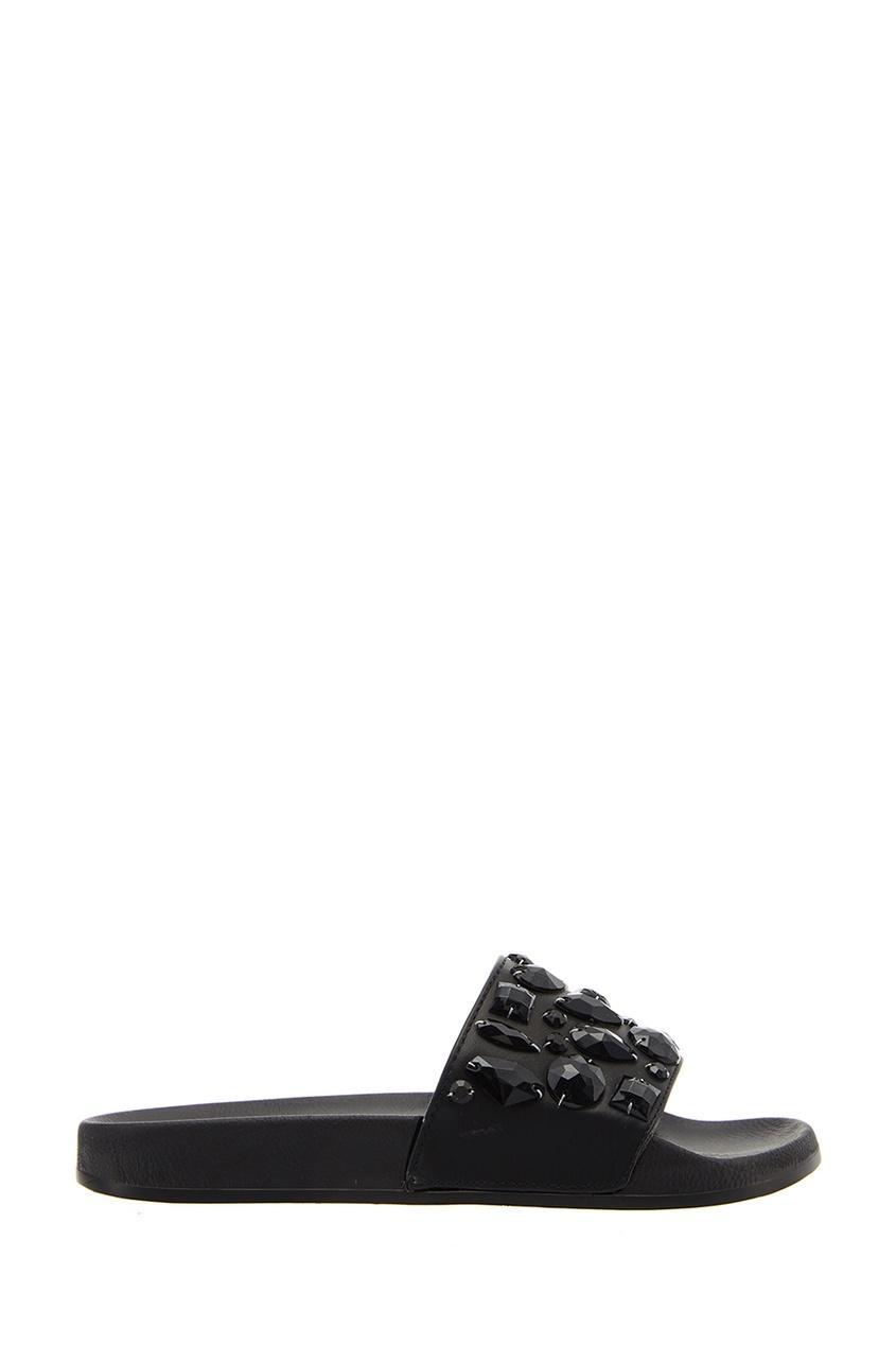Черные сандалии с кристаллами