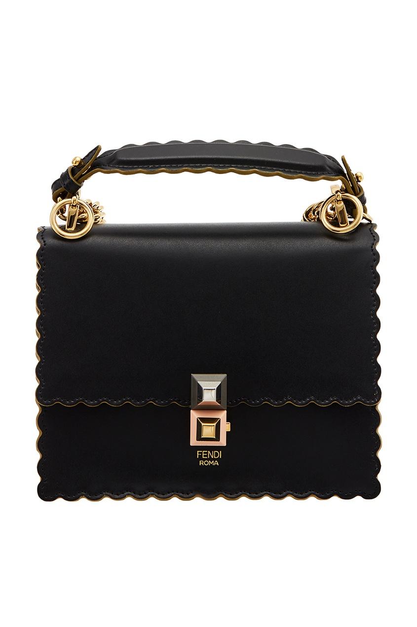 Fendi Черная кожаная сумка Kan I Small