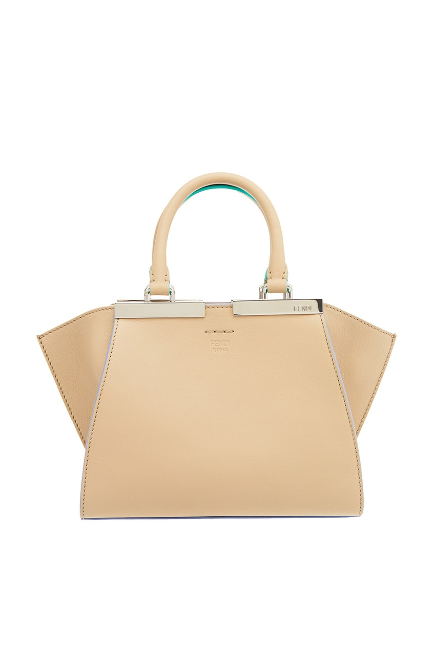Fendi Бежевая сумка из кожи 3Jours Mini сумка fendi demi jours