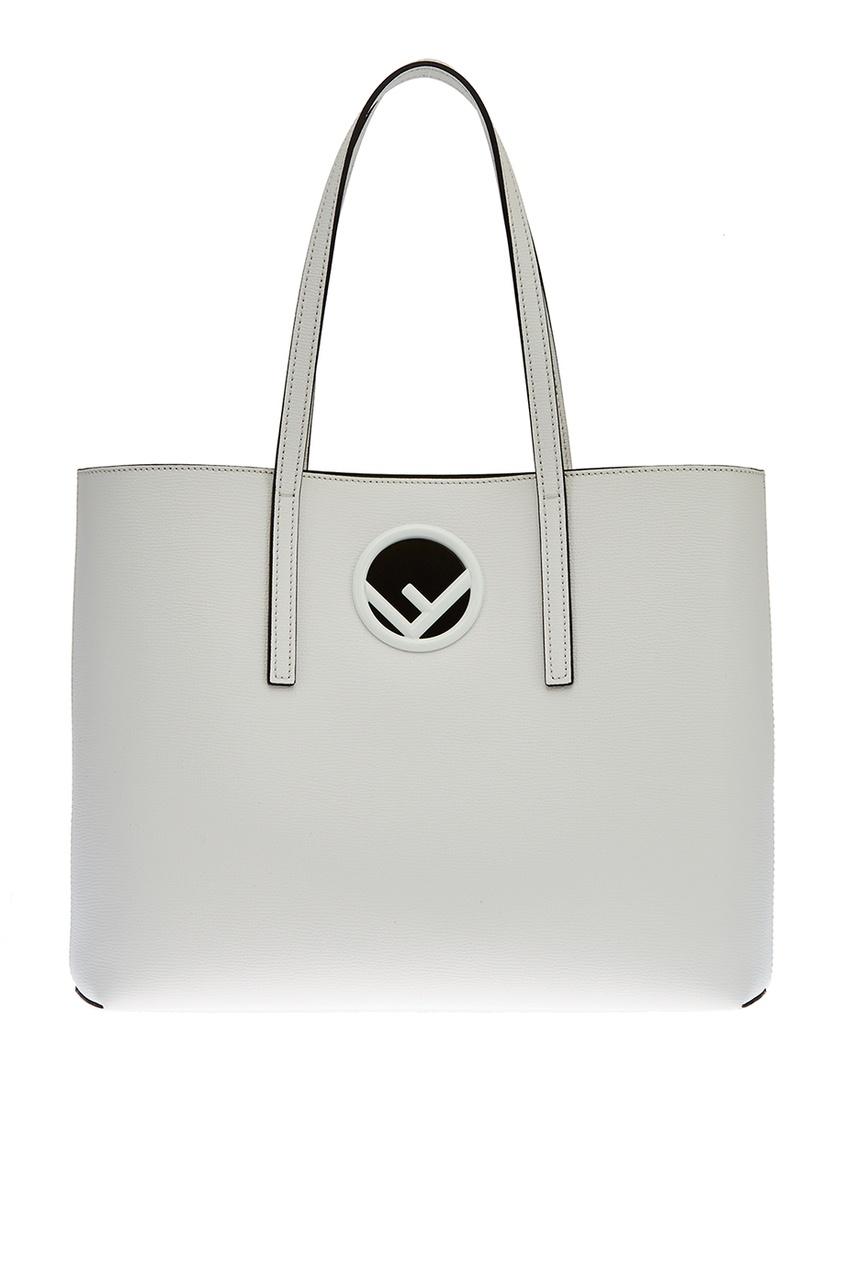 Fendi Белая кожаная сумка Logo сумка fendi demi jours