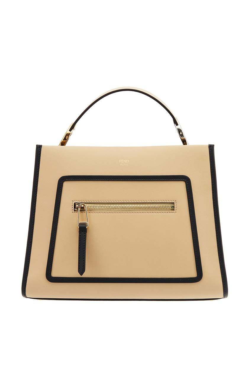 Fendi Коричневая кожаная сумка Runaway Small сумка fendi demi jours