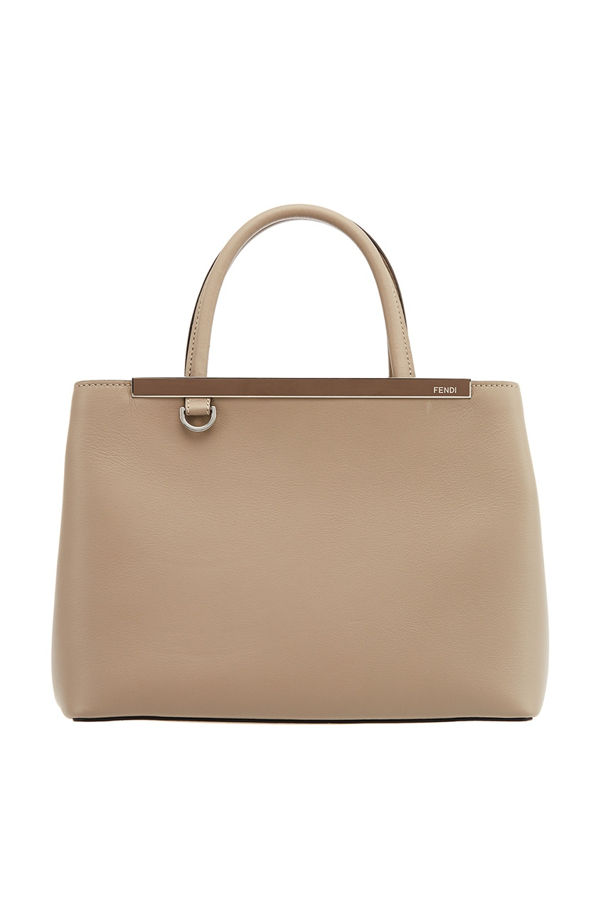 Fendi Бежевая сумка из кожи Petit 2Jours сумка fendi demi jours