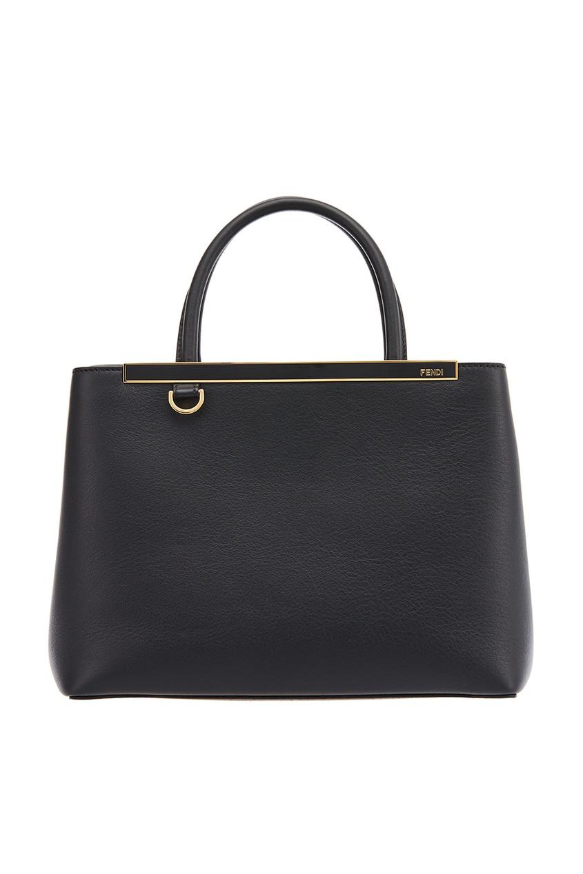Fendi Черная кожаная сумка Petit 2Jours сумка fendi demi jours