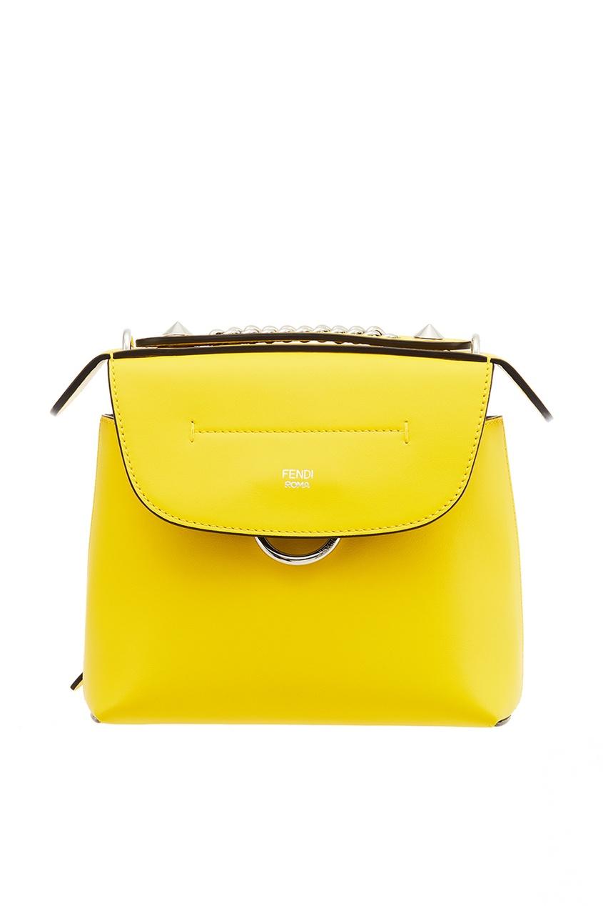 Fendi Желтый кожаный рюкзак Back to Shool fendi кожаный ремень для сумки