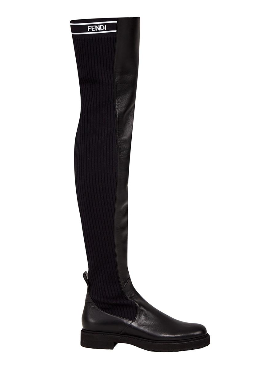 Fendi Черные кожаные сапоги