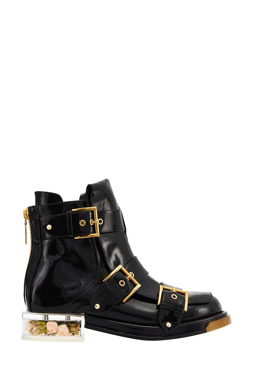 где купить Alexander McQueen Черные лакированные ботинки с пряжками по лучшей цене