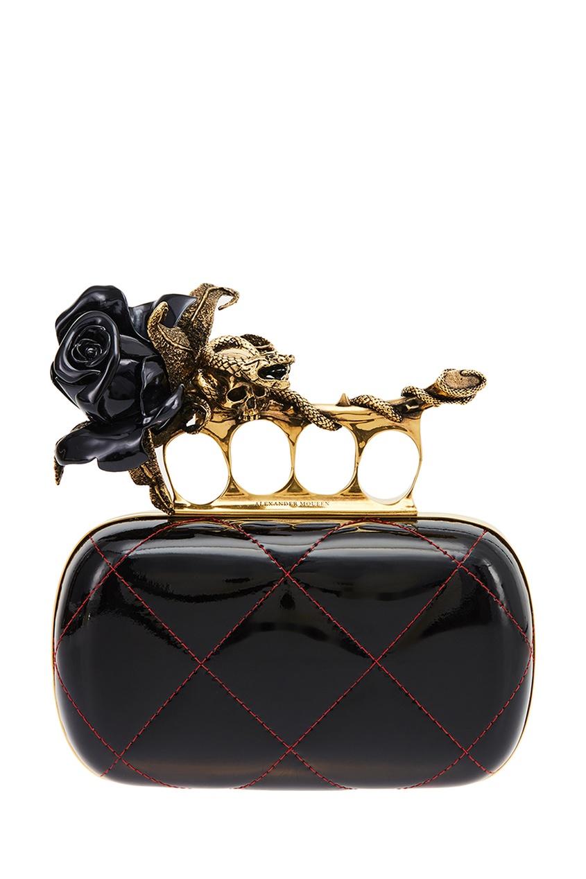 Черный кожаный клатч с розой Knuckle