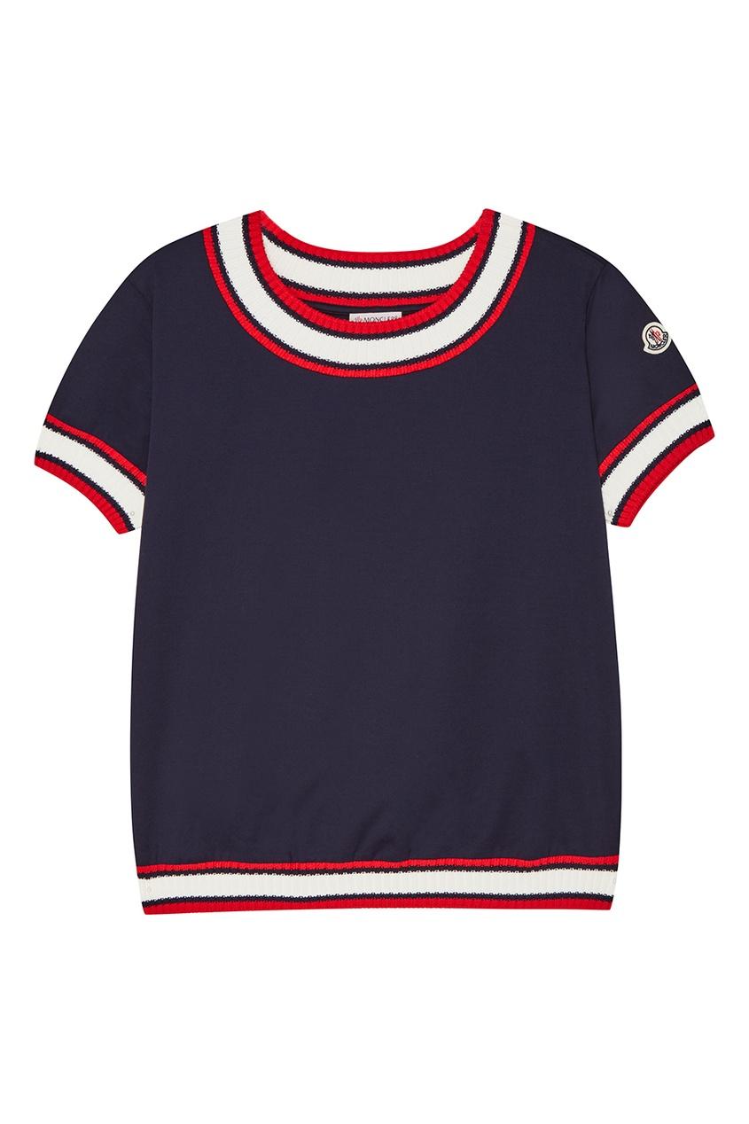 Moncler Синяя хлопковая футболка с окантовками