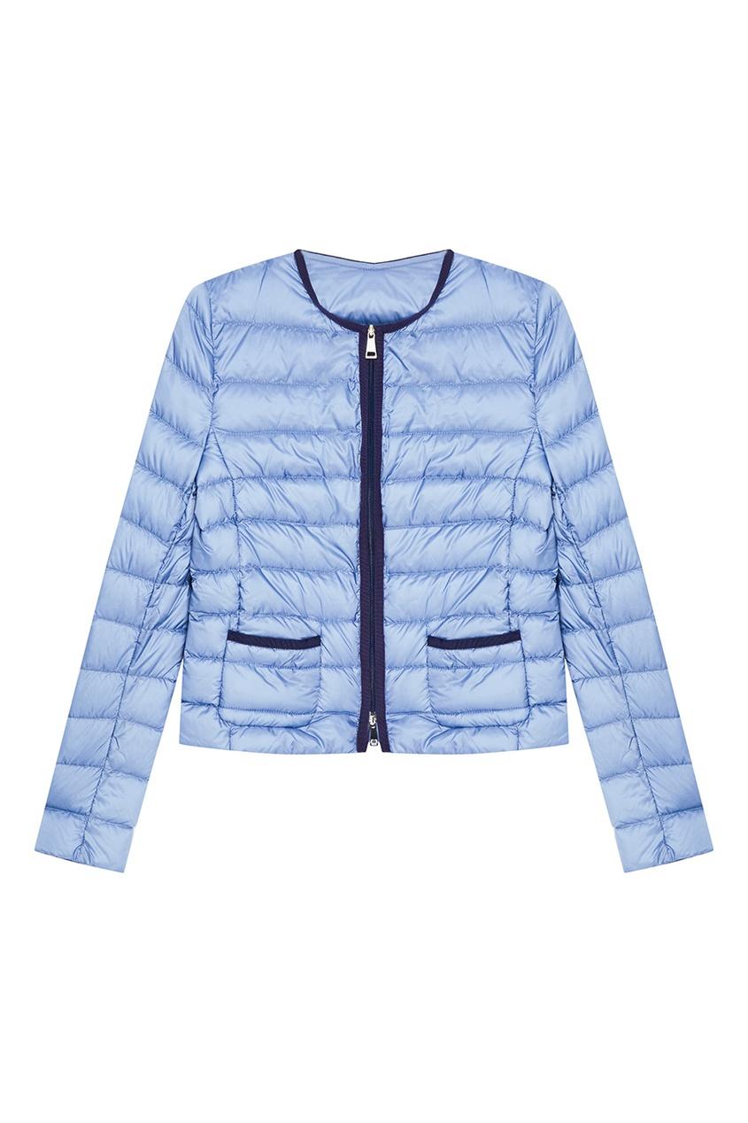 Голубая стеганая куртка