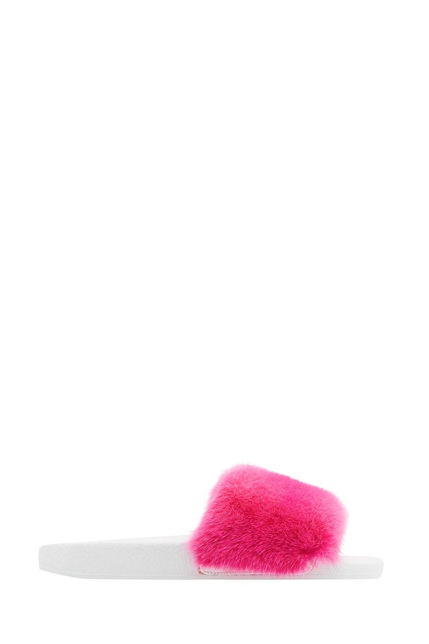 Moncler Кожаные сандалии с мехом норки