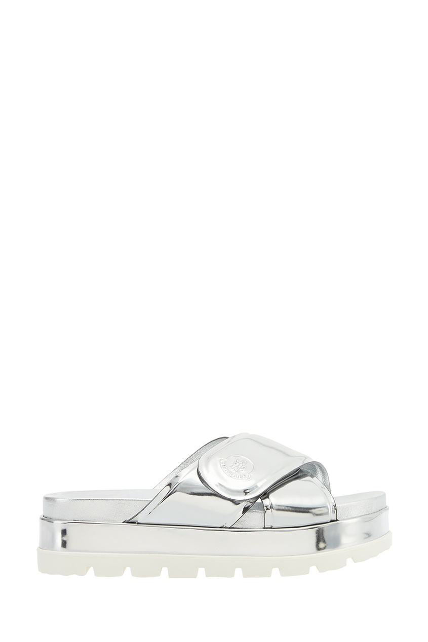Moncler Серебристые ламинированные сандалии сандалии velvet сандалии на обычной подошве