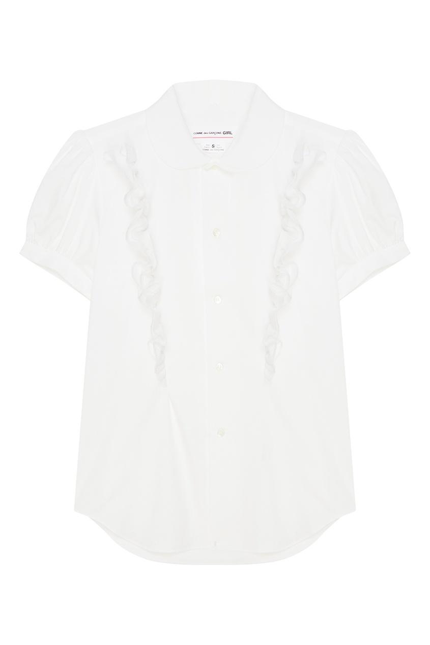 Купить со скидкой Белая хлопковая блузка с оборками