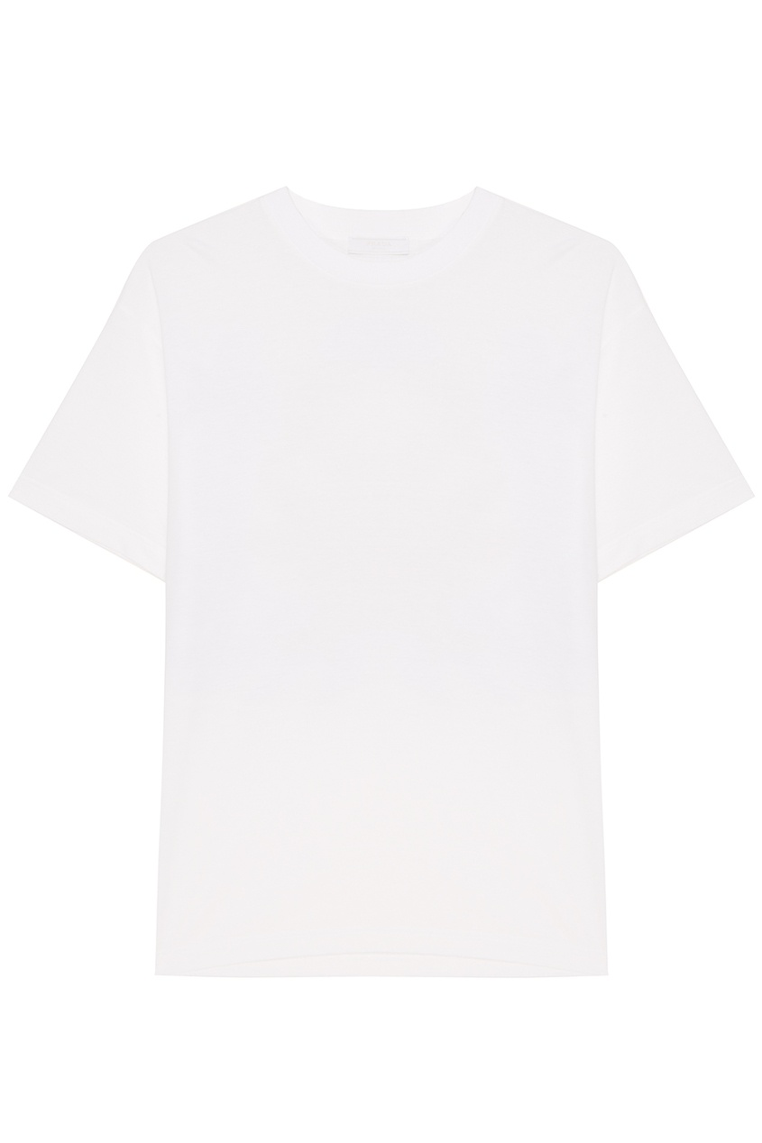 Prada Белая футболка с аппликацией топсайдеры clarks 26132473 navy leather