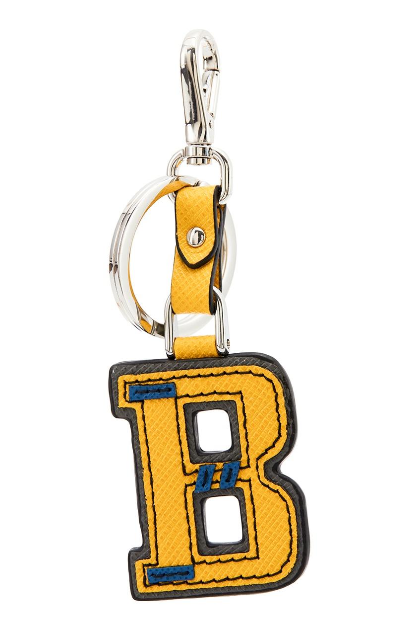 Prada Желтый кожаный брелок с буквой B