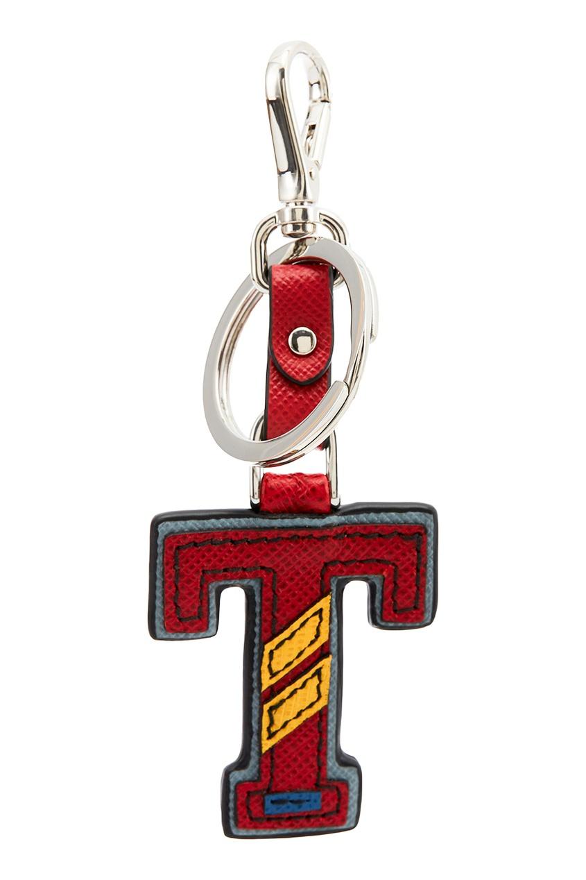 Prada Бордовый брелок с буквой T