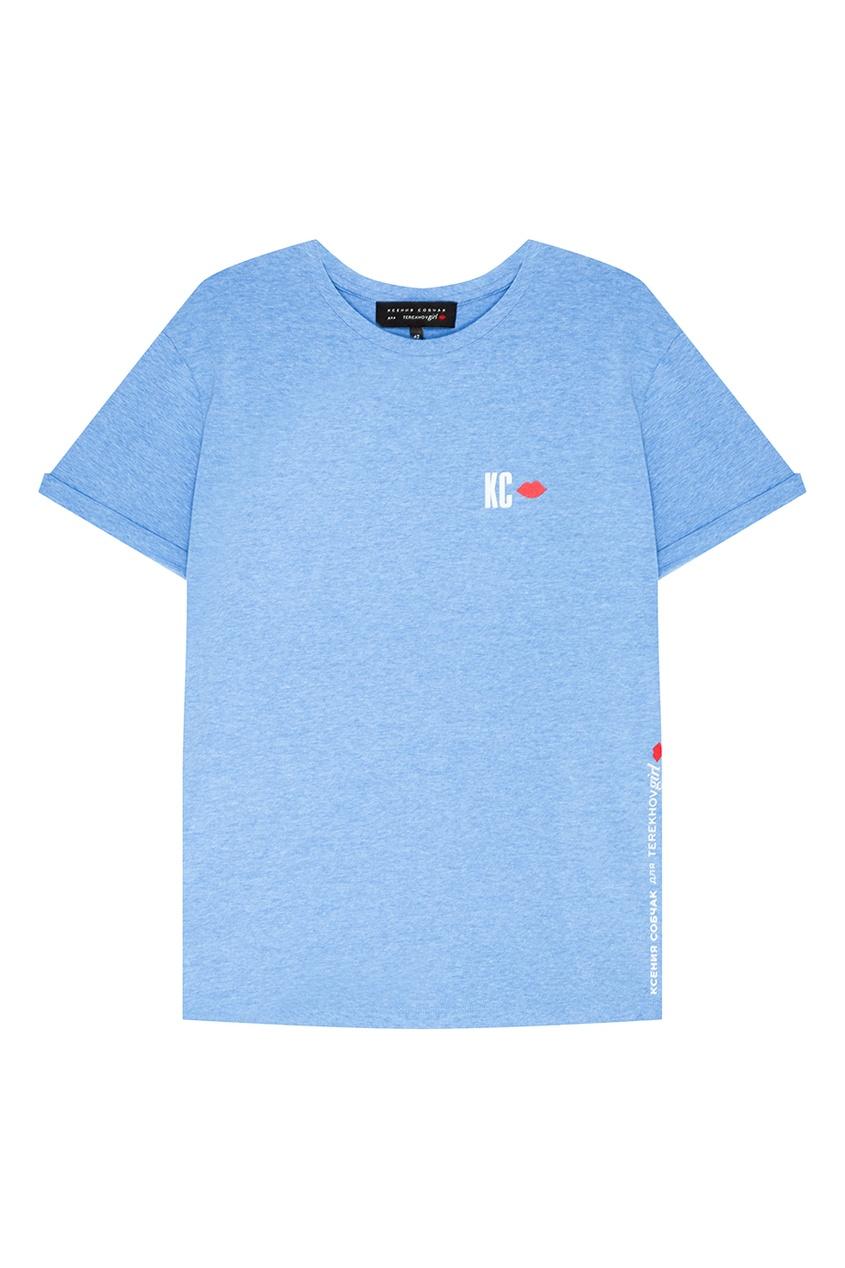Terekhov Girl Голубая меланжевая футболка футболка terekhov girl terekhov girl te024ewakhs2
