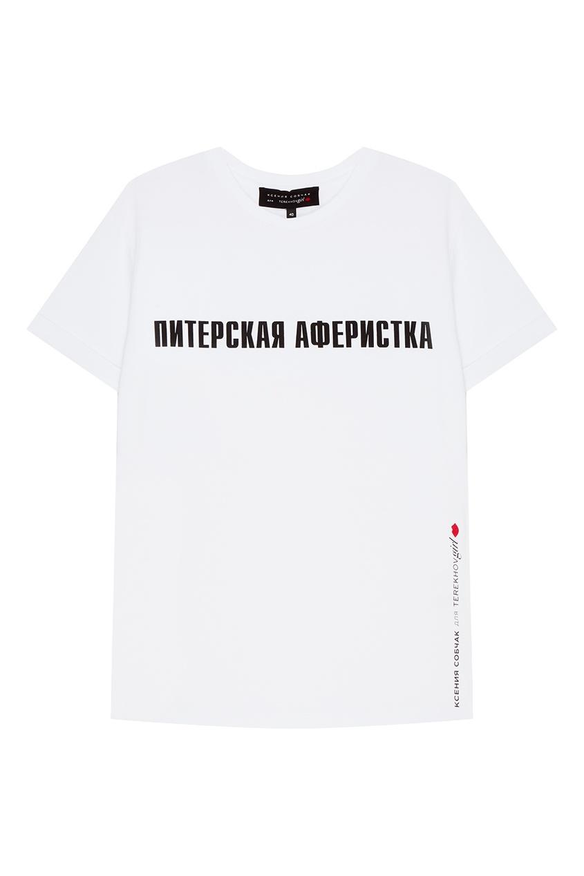 где купить Terekhov Girl Белая футболка с надписью по лучшей цене