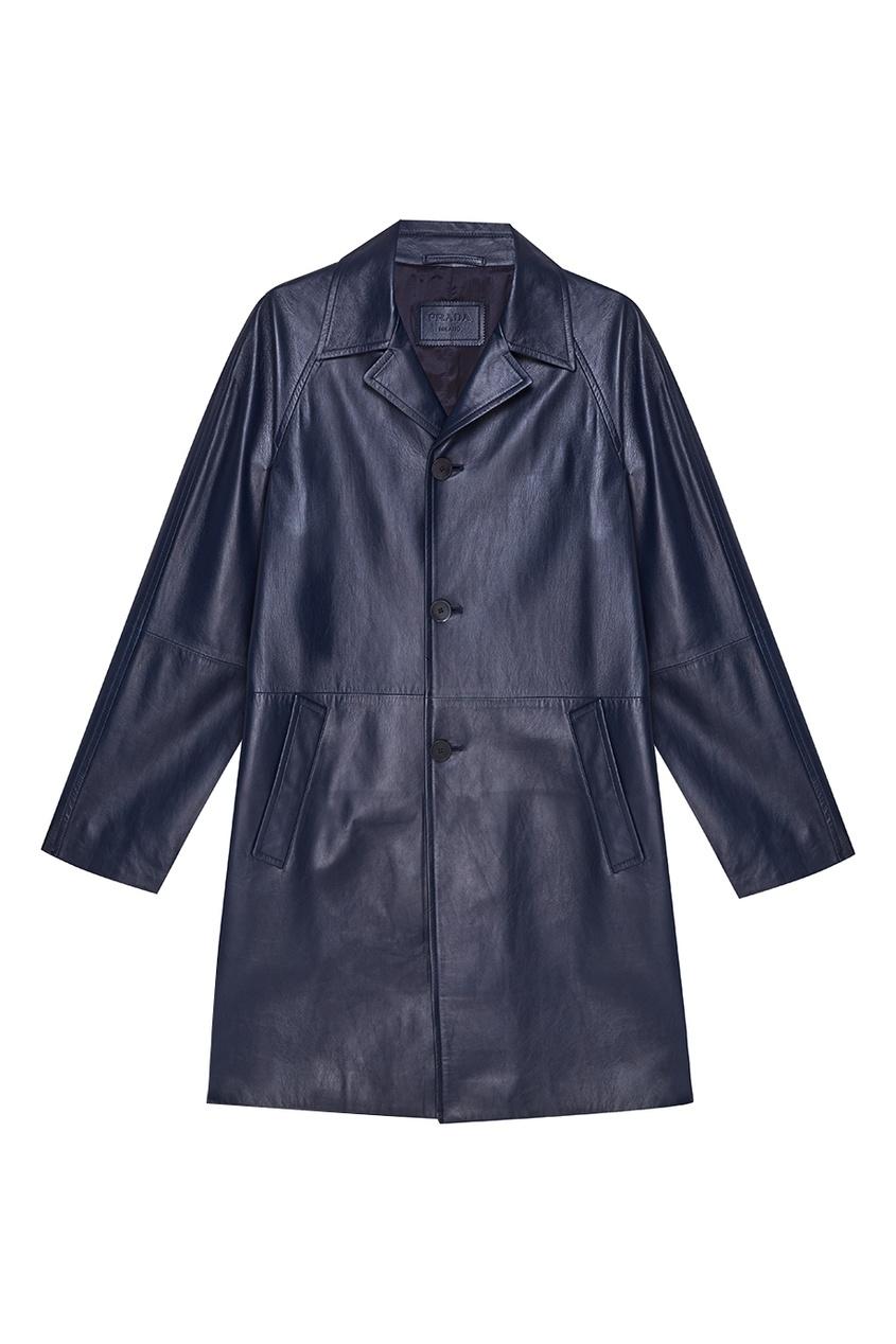 Prada Синее кожаное пальто кожаное пальто с асимметричной молнией