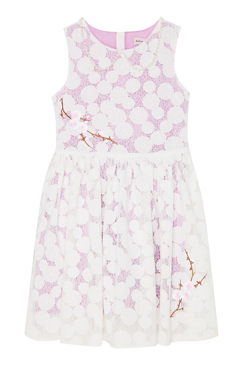 Платье из белого гипюра с вышивкой Paulette