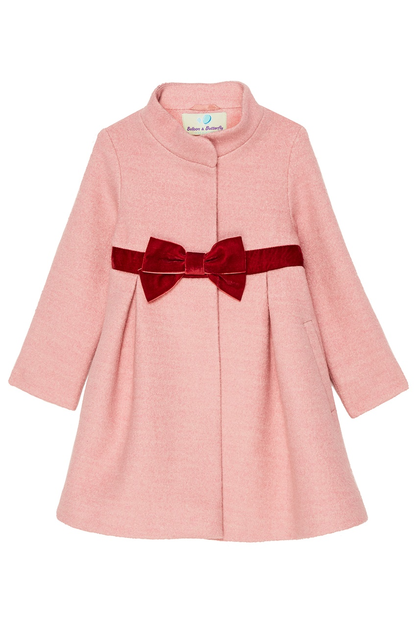 Balloon and Butterfly Розовое пальто с бантом Taty пальто из шерстяного драпа 70