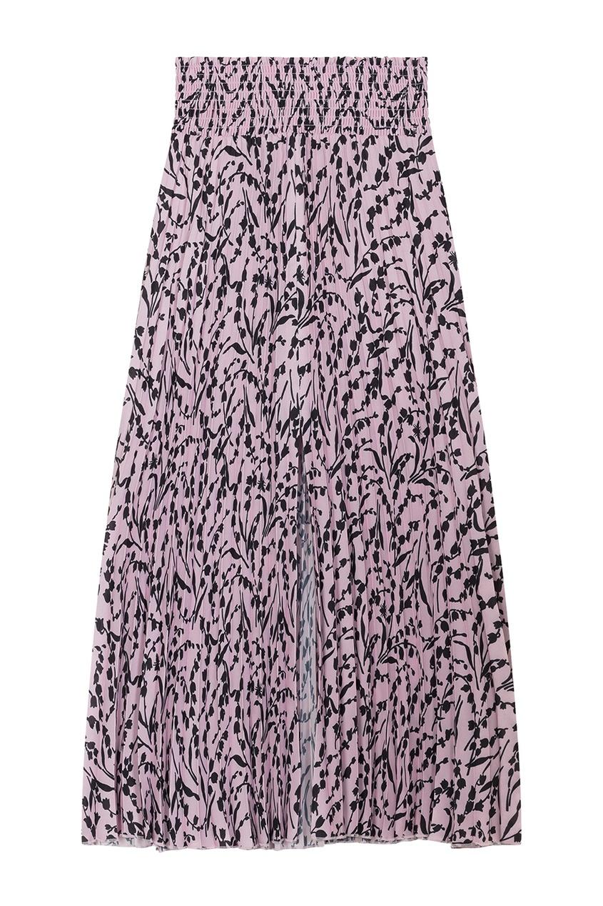 Розовая юбка с контрастным принтом