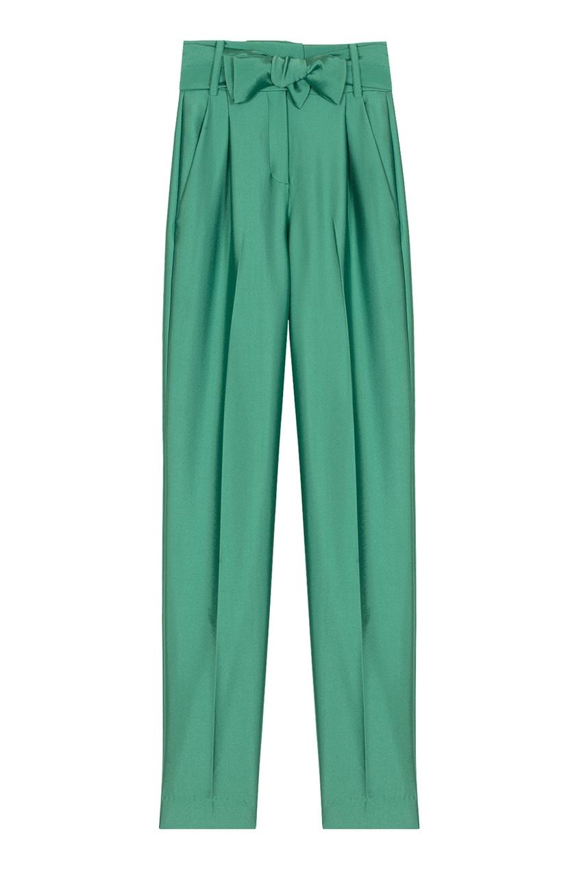 Зеленые брюки с текстильным поясом