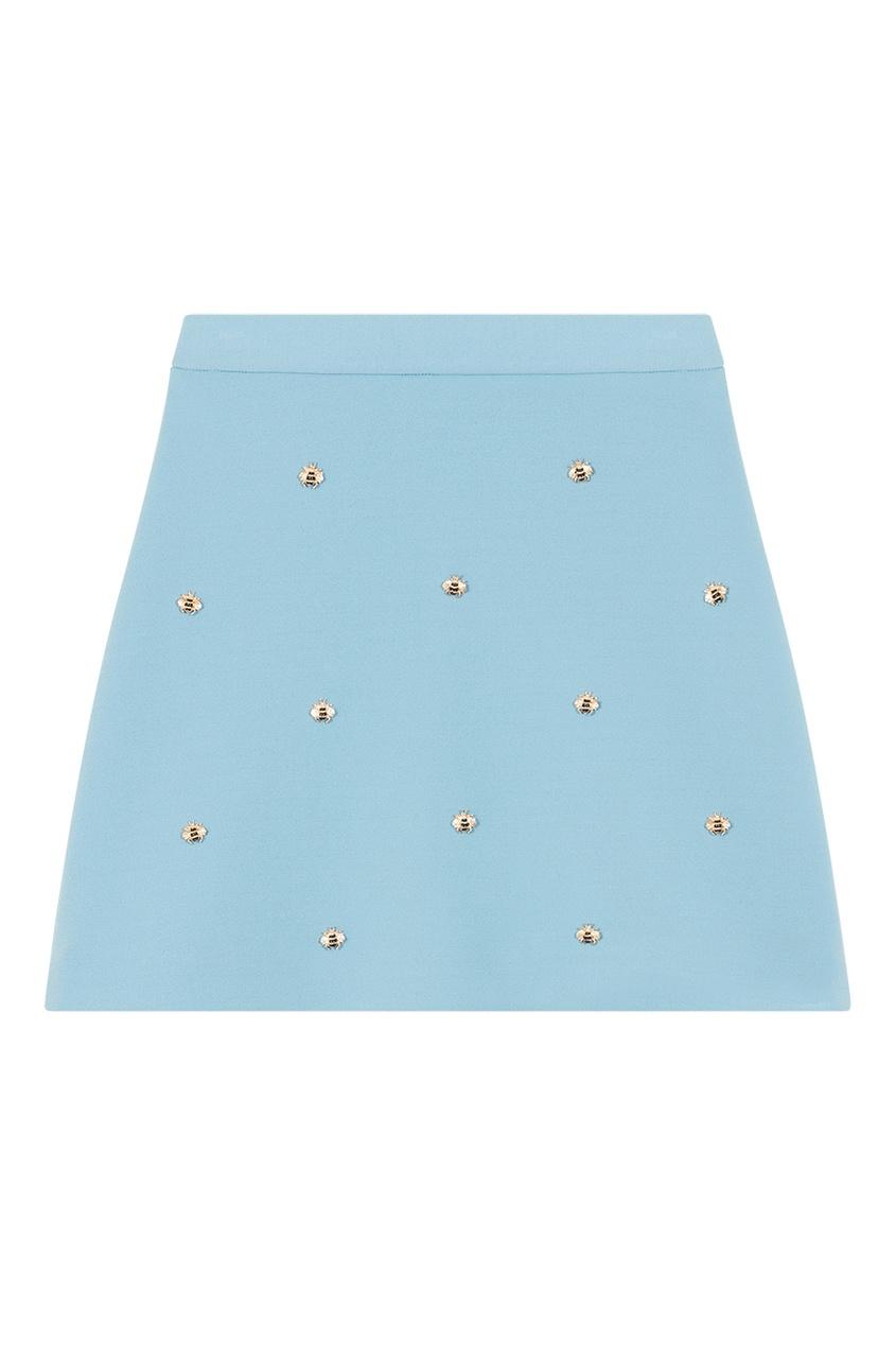 Голубая юбка с отделкой