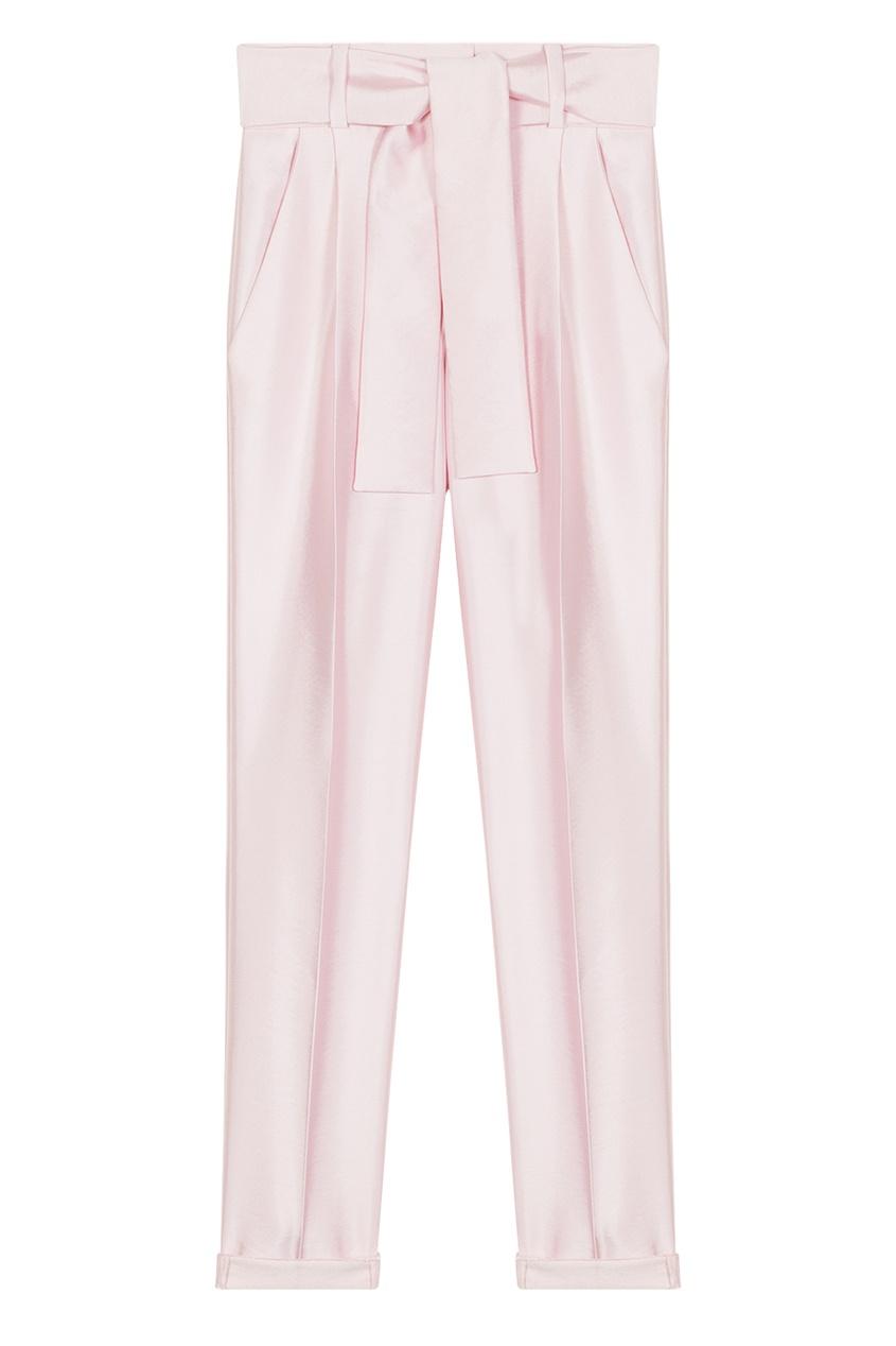 Розовые брюки с широким поясом