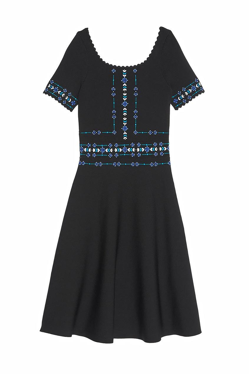 Sandro Черное платье с вышивкой черное платье со складками 46
