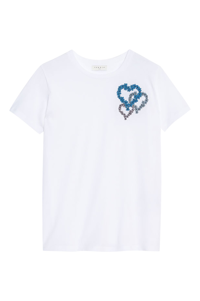 Sandro Белая футболка с цветочной вышивкой футболка белая catimini ут 00011611