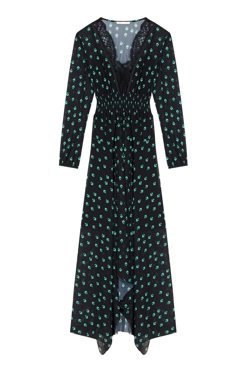 Maje Длинное платье с принтом и кружевом платье длинное струящееся с принтом