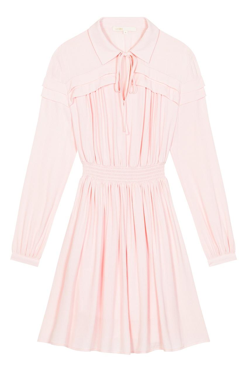 Maje Розовое платье-рубашка maje белый топ с завязками на спине