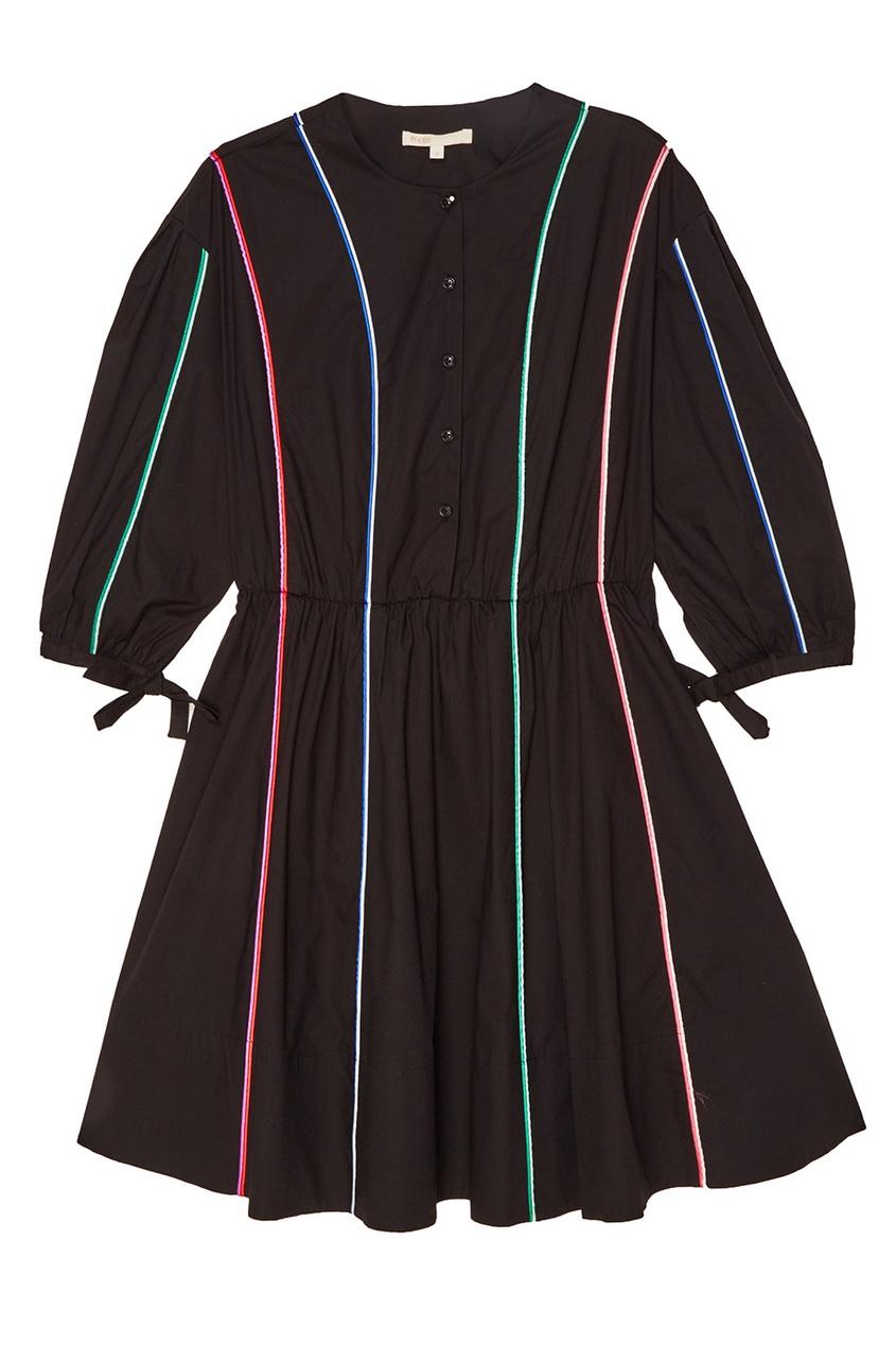 Maje Черное платье с цветными полосками maje белый топ с завязками на спине