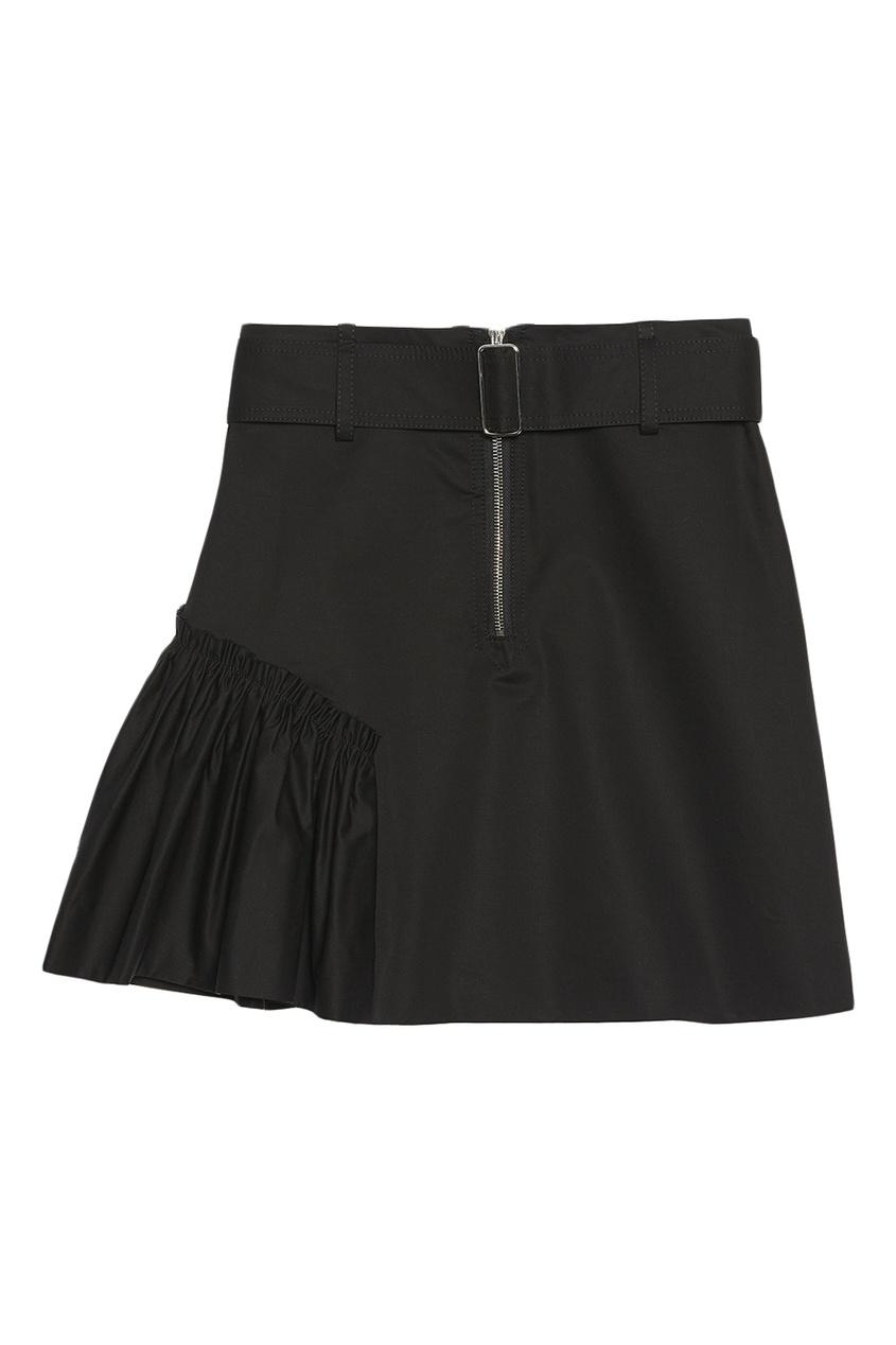 Короткая черная юбка со сборками