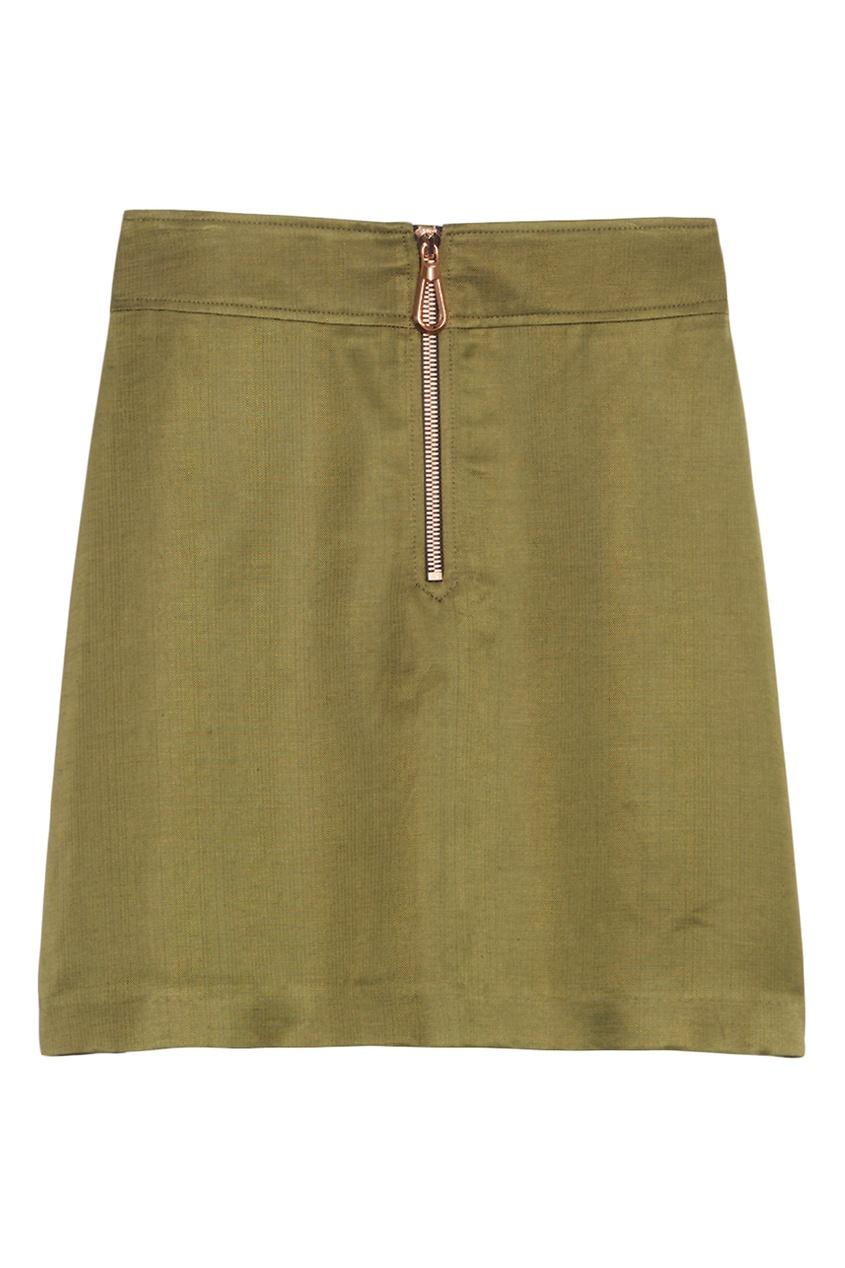 Короткая юбка цвета хаки