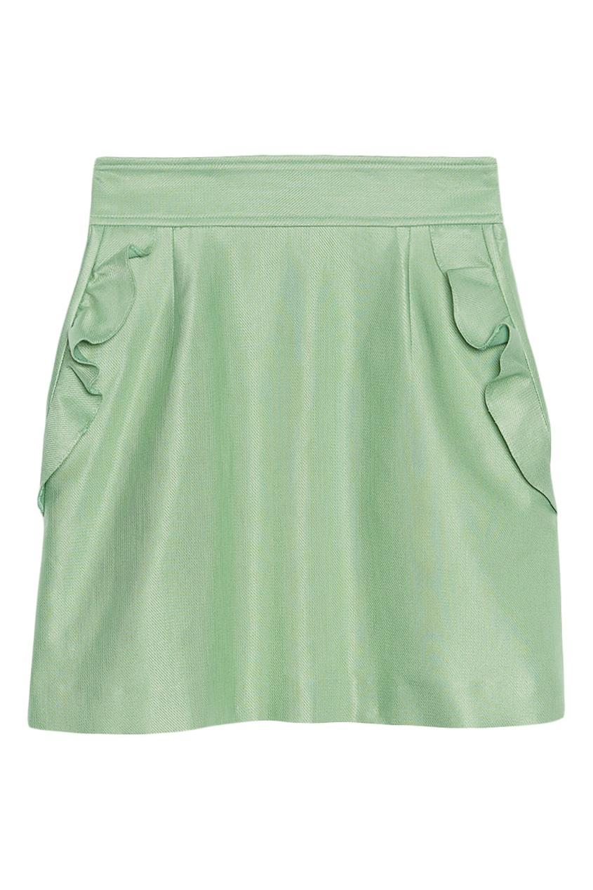 Зеленая юбка с оборками