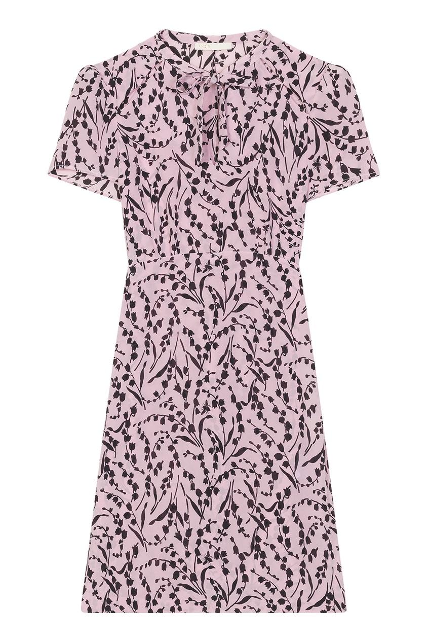 Maje Шелковое платье с контрастным принтом maje белый топ с завязками на спине