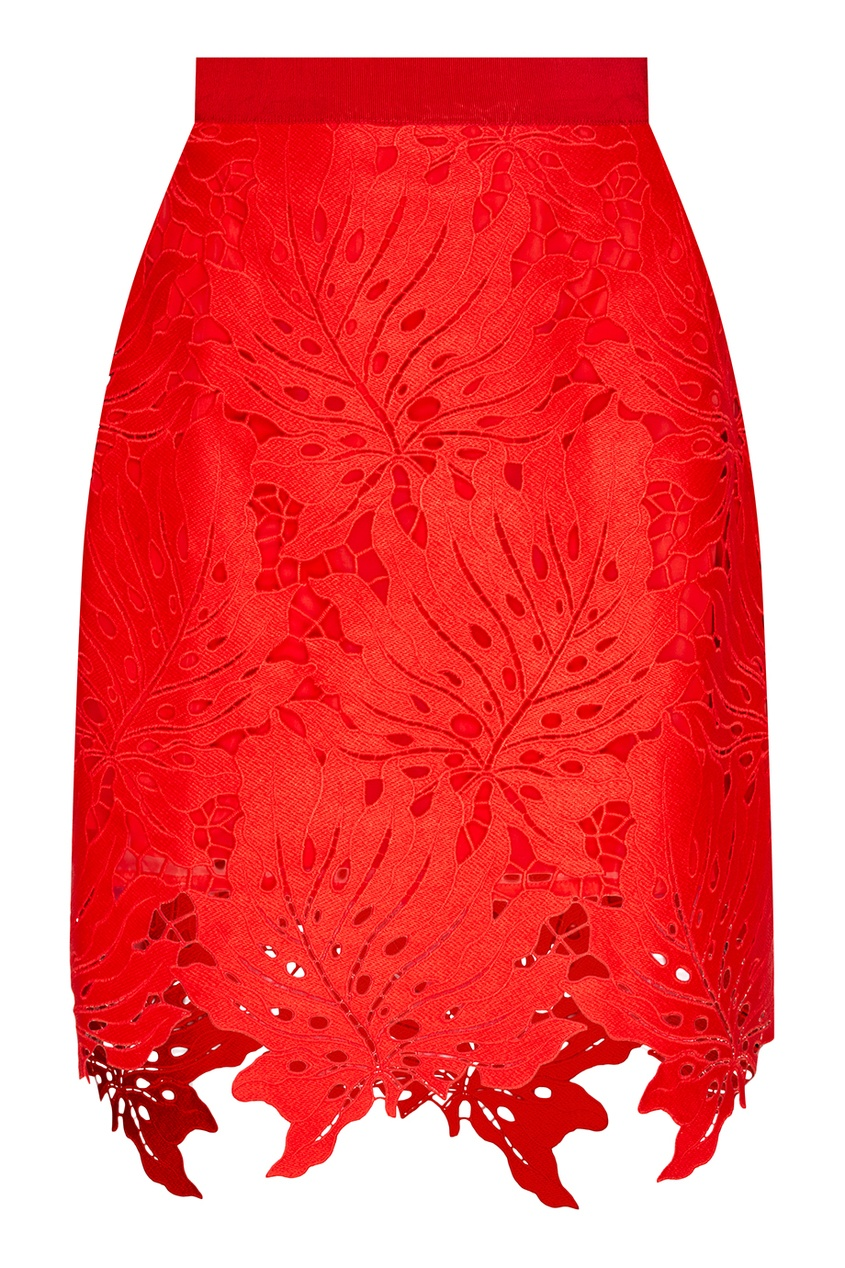 MSGM Красная юбка с ажурными листьями msgm красная хлопковая блузка с логотипами