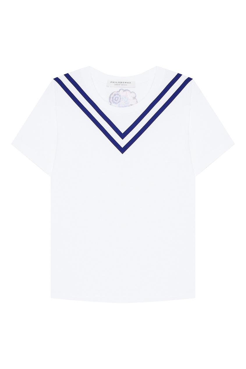 Philosophy Di Lorenzo Serafini Белая футболка в морском стиле цена